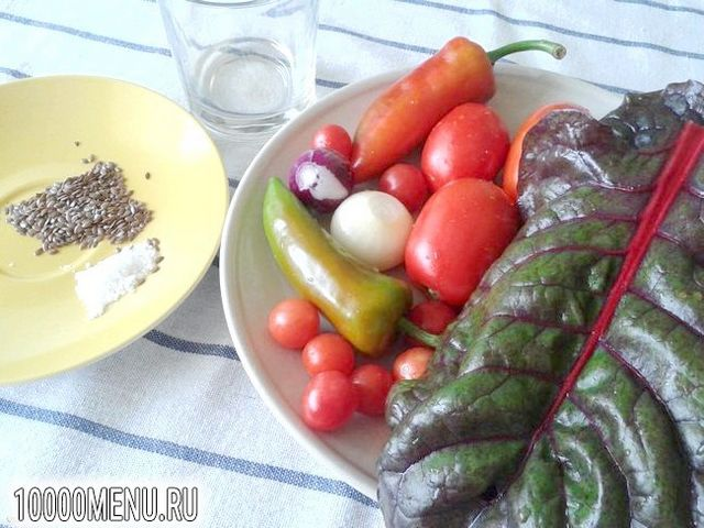 Фото - Овочевий салат з мангольда з насінням льону - фото 1 кроку
