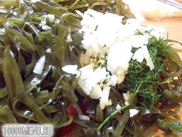 Фото - Гострий салат з ламінарії з цибулею і часником - фото 5 кроку