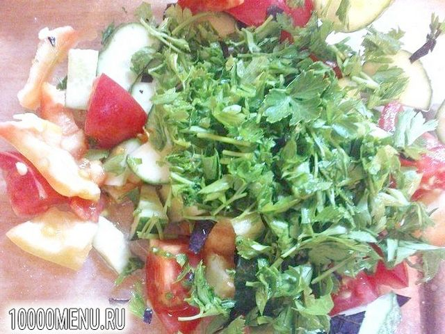 Фото - Овочевий салат з часником - фото 4 кроки
