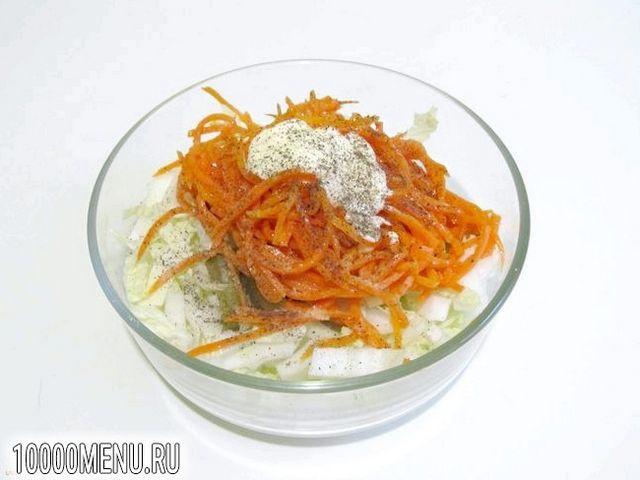 Фото - Салат з пекінської капусти і корейської моркви - фото 4 кроки