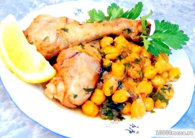 Кулінарний рецепт курка з цибулею і нутом з фото
