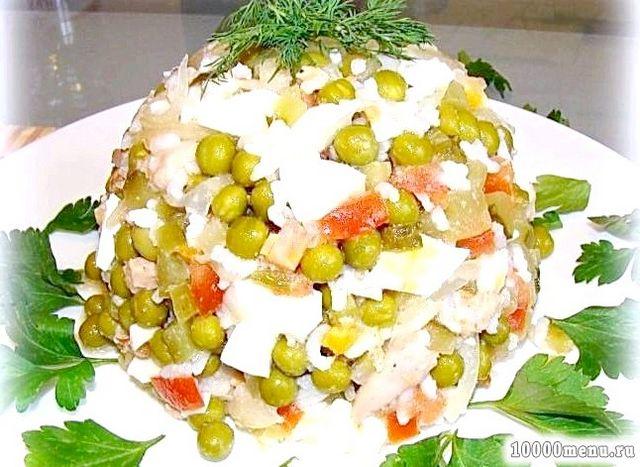Фото - Салат печінка тріски з рисом
