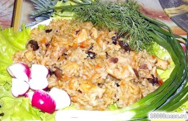 Кулінарний рецепт рисова каша з грибами і м'ясом з фото