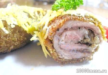 Кулінарний рецепт рулет зі свинини з грибами з фото