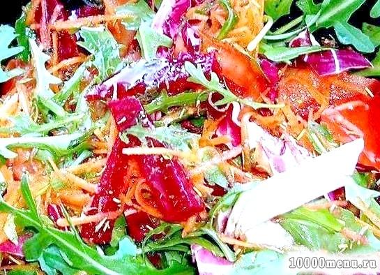 Кулінарний рецепт салат овочевий із запеченою буряком з фото