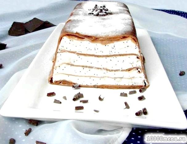 Фото - Млинцевий сирний торт з шоколадних млинців