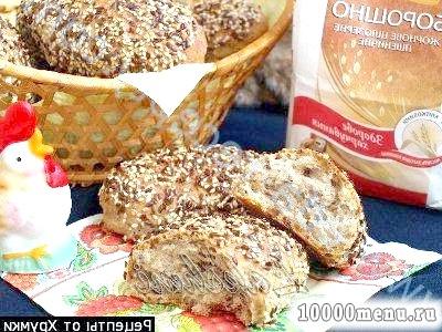 Рецепт корисні булочки з насінням льону та кунжуту з фото