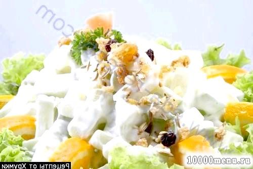 Фото - Салат з ананасом шинкою і горіхами